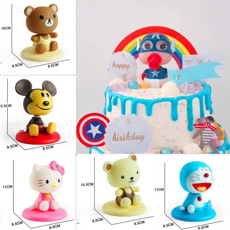 蛋糕装饰KT猫摇头公仔蛋糕摆件叮当猫米奇布朗熊美国队长香蕉猴