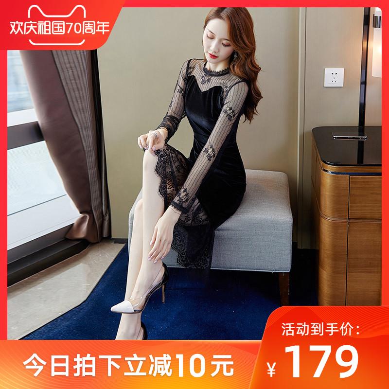 黑色金丝绒秋冬装2019年新款连衣裙