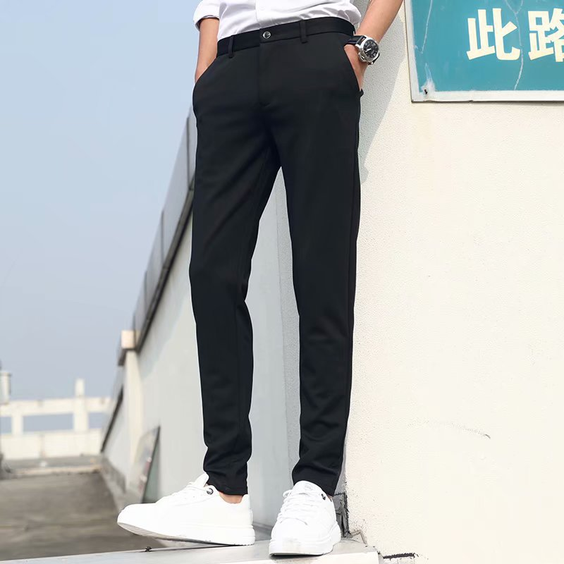 Mens spring and autumn trousers mens slim straight tube black mens trousers formal wear for work easy to wear mens business spring