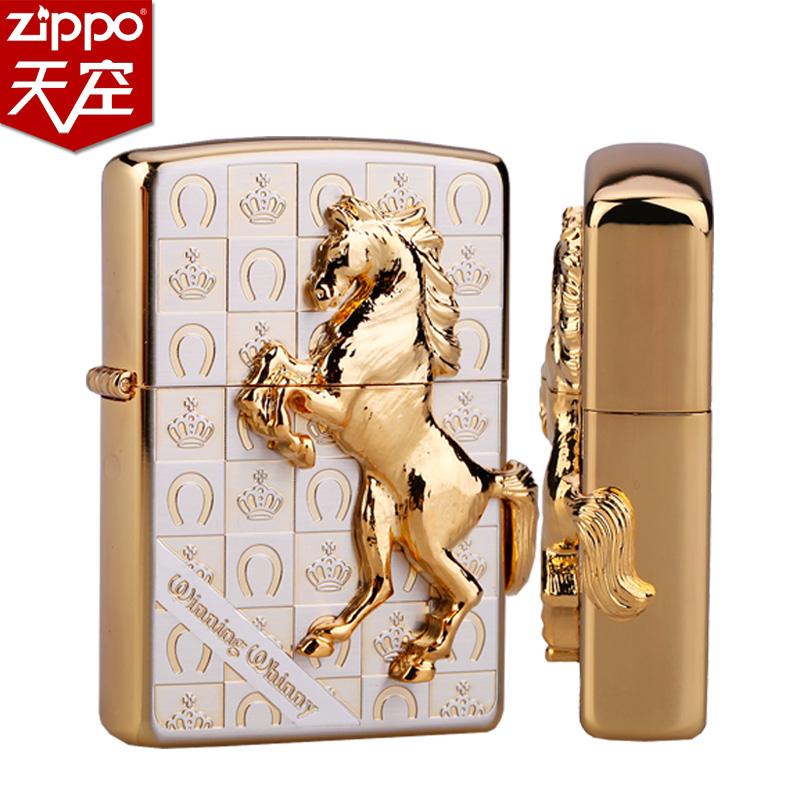 ZIPPO打火机正品 马年纪念版 新款金色皇冠骏马 正版