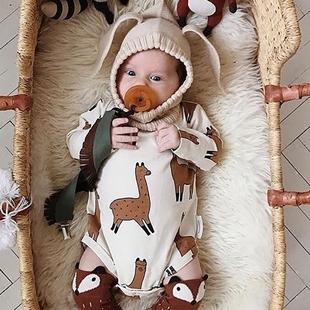 ins满印羊驼 婴儿三角爬服春秋纯棉宝宝连体衣长袖 哈衣新生儿睡衣