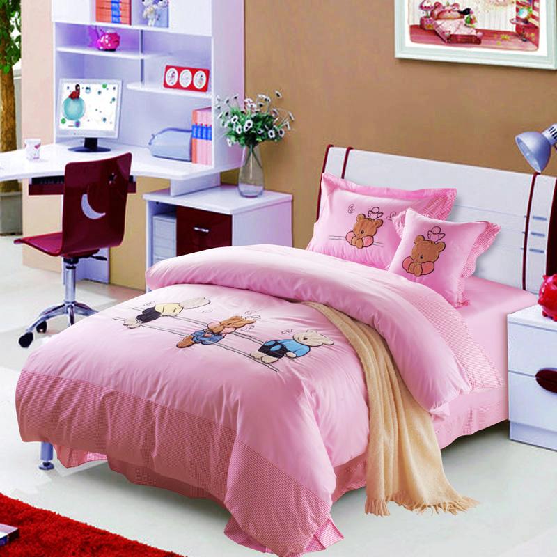 向上家纺 卡通床上用品 纯棉儿童四件套 全棉女孩小熊粉红公主床
