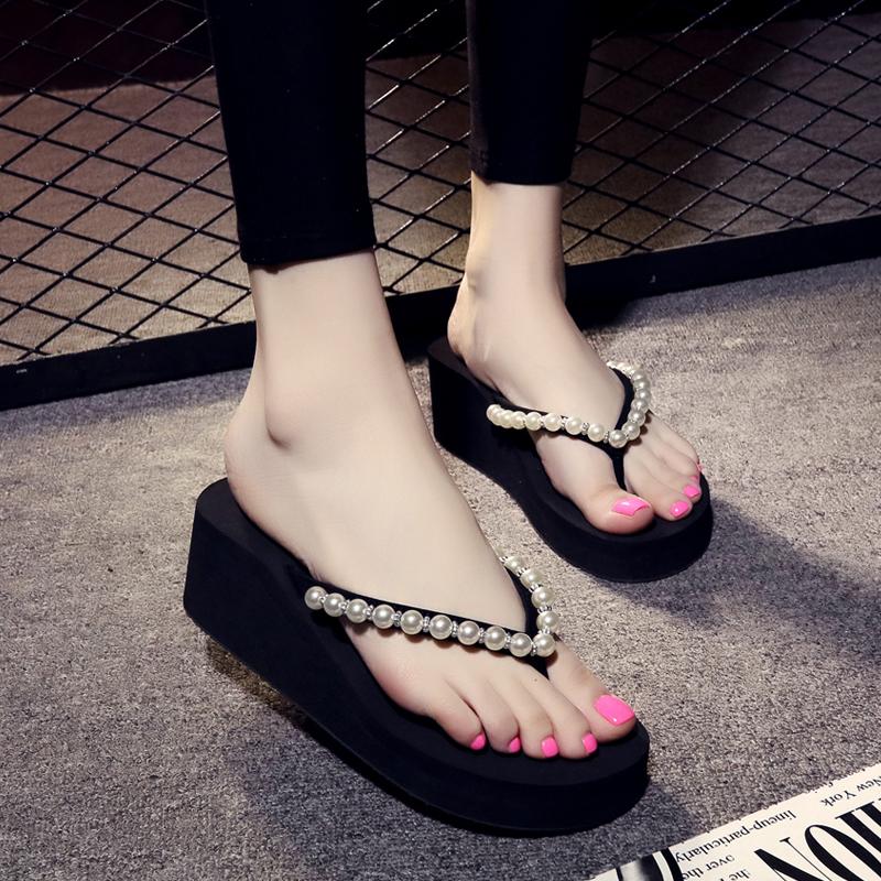 人字拖女厚底坡跟夹脚凉拖鞋时尚外穿松糕底防滑沙滩鞋2019新款夏