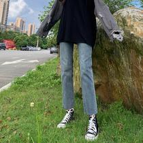 直筒牛仔裤女2021春款新款高腰小个子八分百搭显瘦显高宽松九分裤