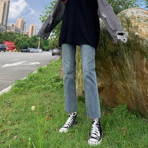直筒2021春秋新款高腰小个子牛仔裤