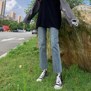 2020春装高腰新款牛仔裤女网红百搭显瘦显高宽松阔腿九分直筒裤子