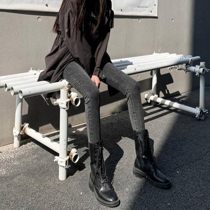 2020秋冬灰黑色牛仔裤女高腰显瘦显高紧身小脚铅笔裤新款加绒裤子