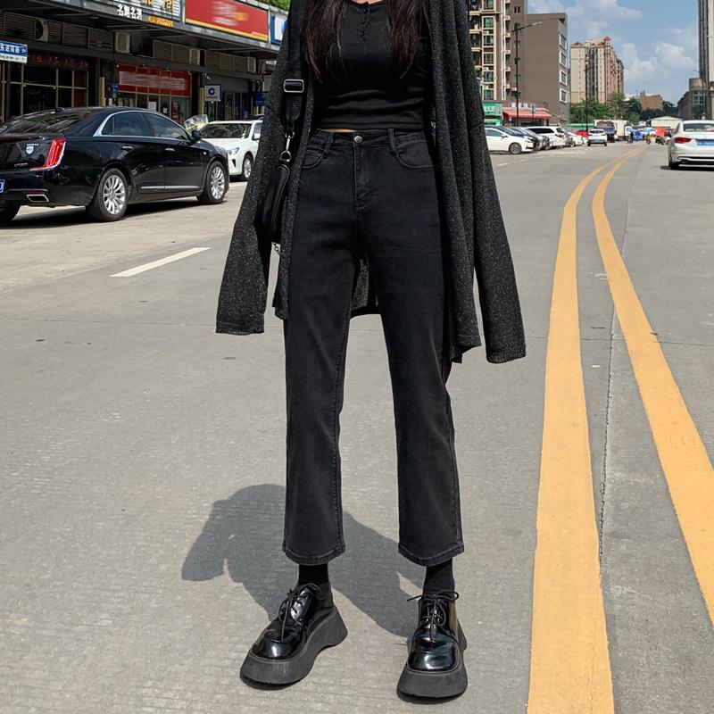 黑色2021春款新款高腰直筒牛仔裤