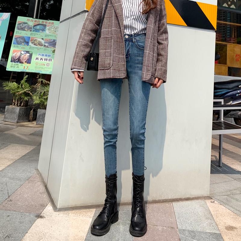 牛仔裤女2019秋冬新款高腰加绒加厚韩版修身显瘦百搭紧身小脚裤子