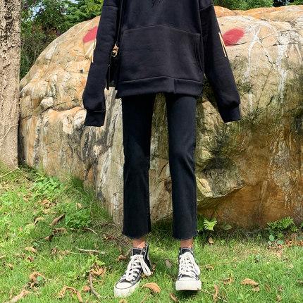 黑色牛仔裤女直筒裤宽松2020新款秋装高腰修身显高显瘦烟管九分裤