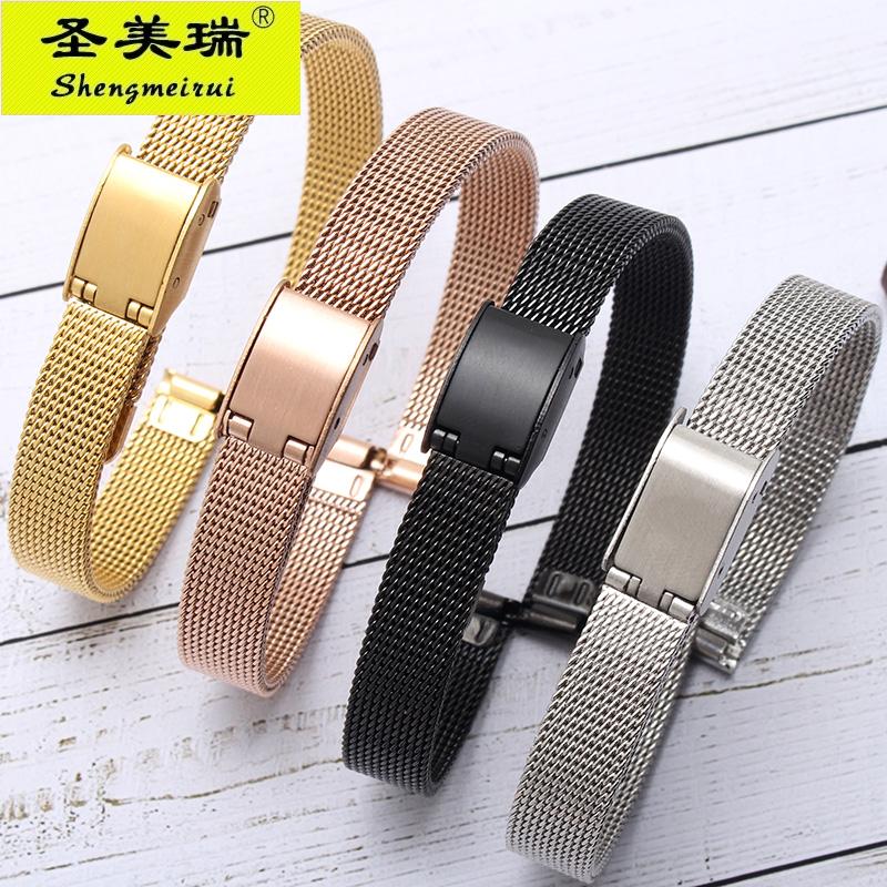 不锈钢表带超薄米兰钢带不锈钢精钢金属女手表链6 8 10 12 14mm男