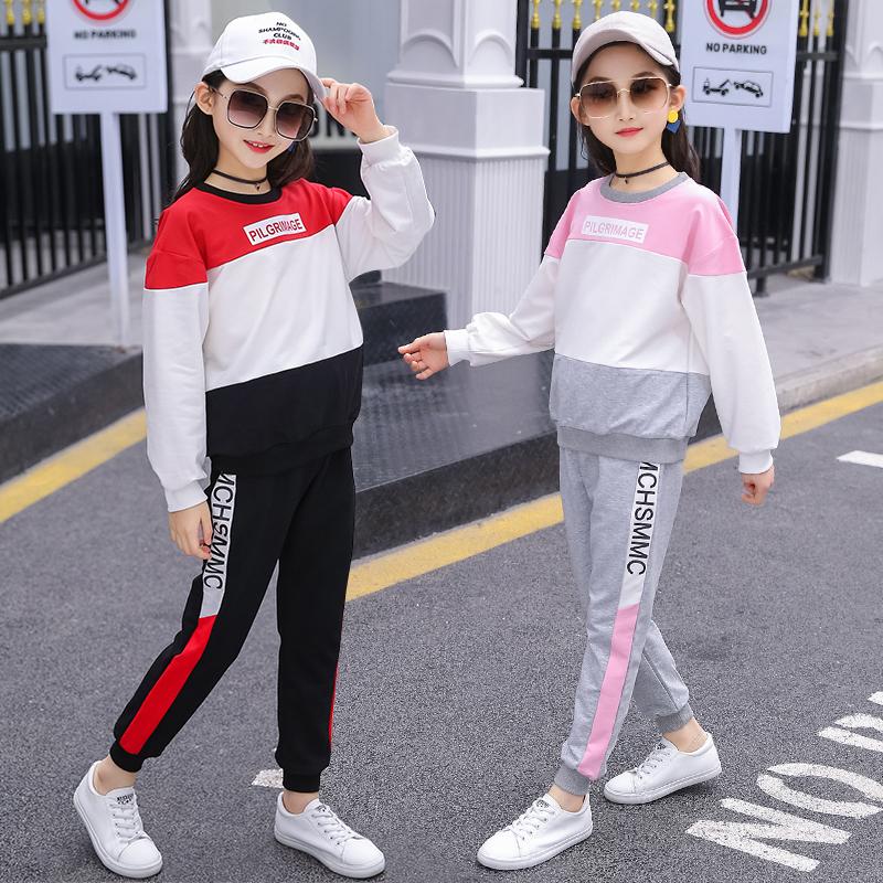 女童夏装套装2019新款儿童洋气秋款小女孩大童长袖两件套网红童装