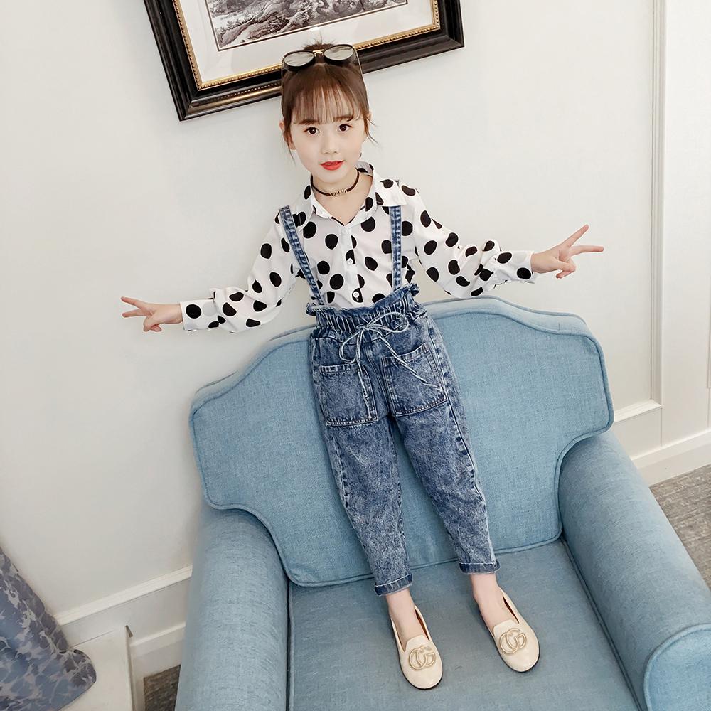 女童洋气衬衫套装秋装2019新款韩版女孩长袖上衣春秋儿童时尚童装