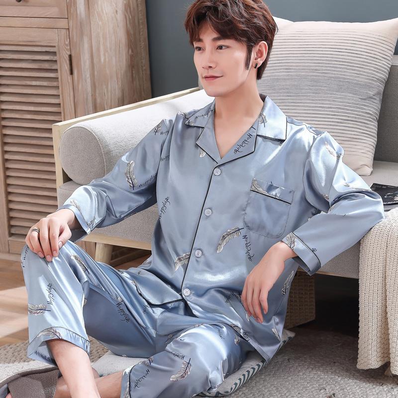 丝绸睡衣男士夏季睡衣薄款短袖夏天冰丝睡衣男款加大码家居服套装