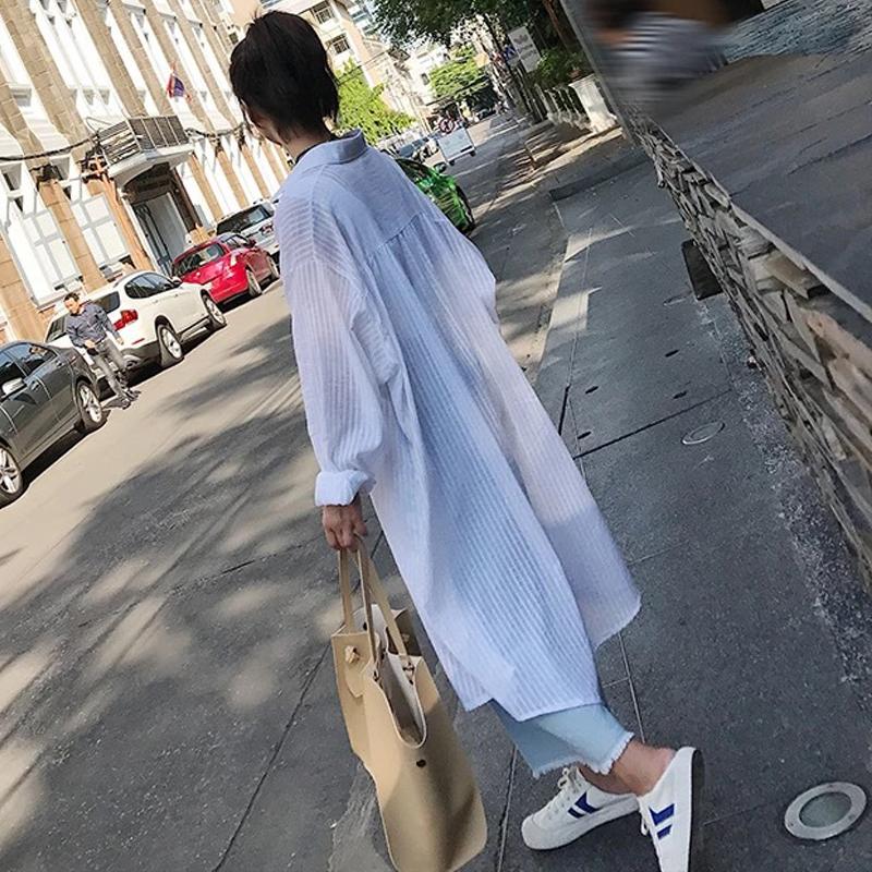潮中长款过膝防晒衣百搭学生宽松衬衫薄外套bf超长开衫女夏季韩版