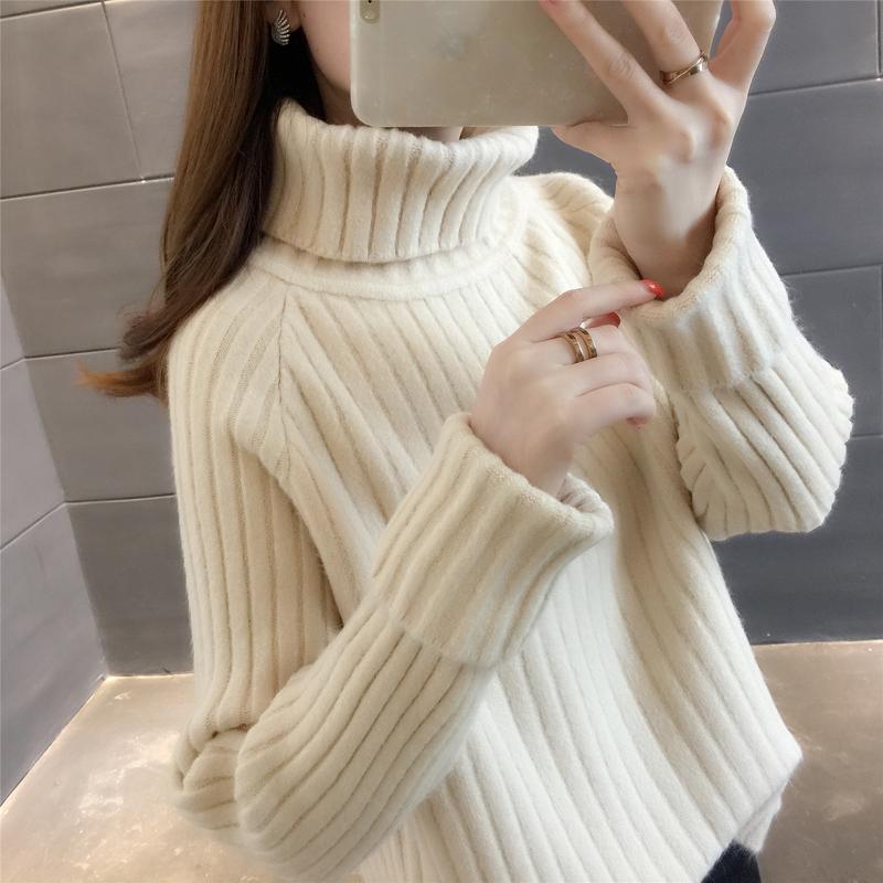 2020年新款秋冬装女士加绒加厚高领毛衣服女装爆款宽松外穿打底衫