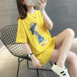 夏季 中长款 女士宽松2021年新款 上衣服潮 夏装 薄款 T恤女装 纯棉短袖