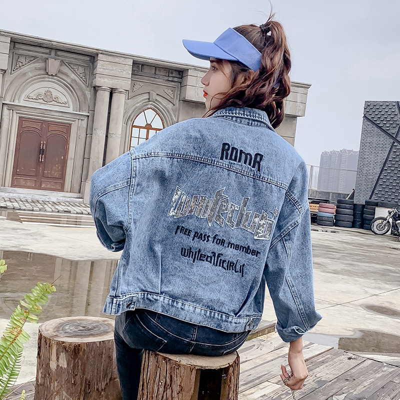 2020 net red small new Korean loose girl student spring and autumn short letter embroidered fashion denim coat