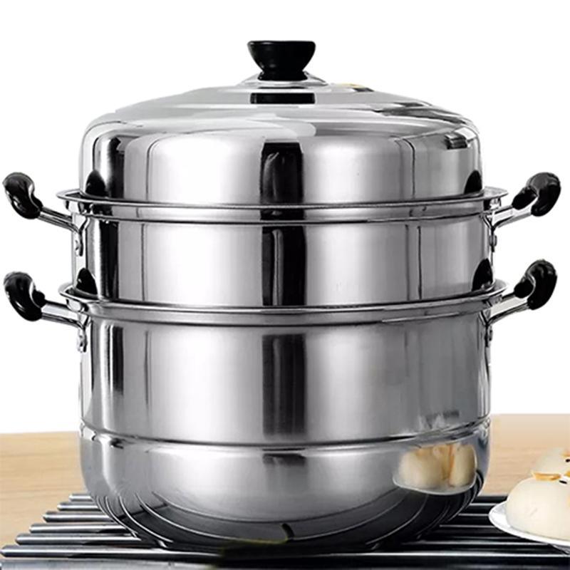 蒸馒头的蒸锅不锈钢三层加厚家用大容量蒸煮双层蒸锅小蒸笼
