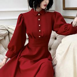 红色订婚礼服裙女敬酒服2020新款冬季平时可穿新娘回门连衣裙长袖