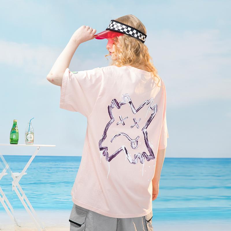 毒库潮社油漆涂鸦短袖潮牌男女ins情侣装夏新款嘻哈宽松T恤PCMY