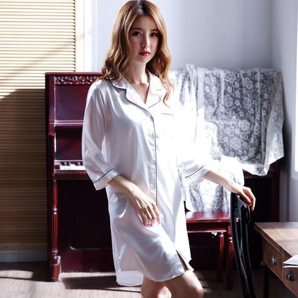 夏季睡衣女士性感冰丝睡裙衬衫丝绸短袖韩版长裙衬衣宽松长款春秋