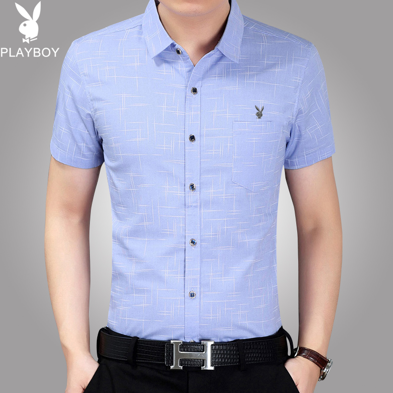 Playboy summer mens Short Sleeve Shirt mercerized cotton business casual loose half sleeve middle-aged shirt Dad