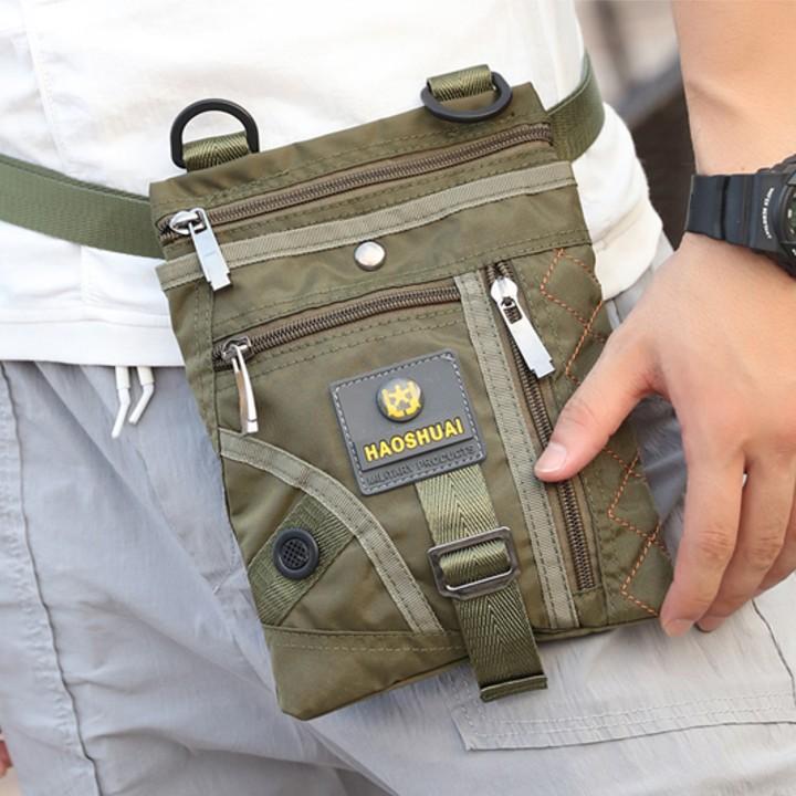 包邮新款休闲男士单肩斜挎包户外旅行防水腰包多功能超薄贴身腰带挂包