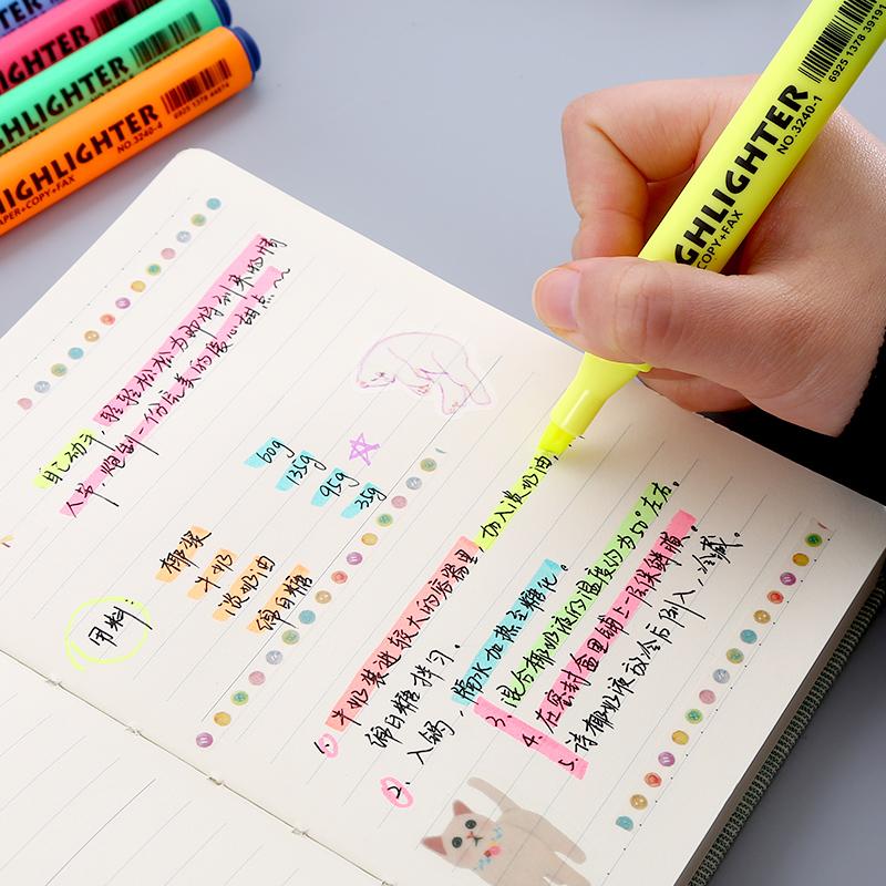 学生用荧光笔标记笔彩色粗划重点文具手帐笔淡色系记号笔背书神器