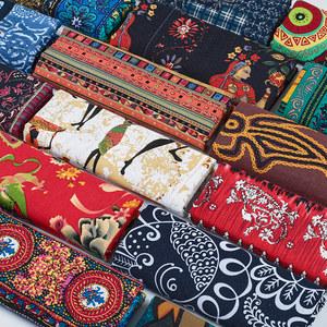 民族风波西米亚面料印花棉麻服装布料复古手工DIY桌布拼布东南亚