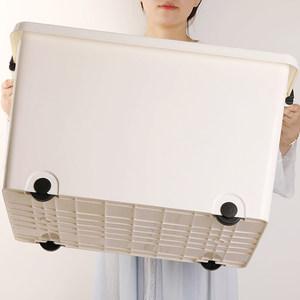 收纳箱带滑轮简约白塑料箱特大号加厚家用玩具被子衣服整理箱有盖