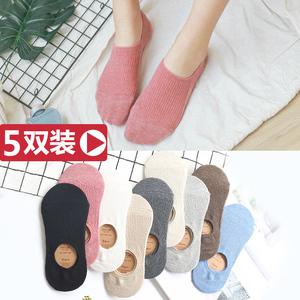 袜子女  浅口船袜春夏季薄款黑纯棉短袜ins潮可爱日系防滑隐形袜