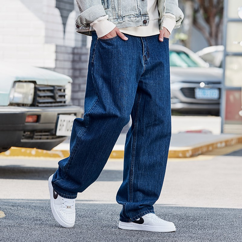 High grade spring and autumn jeans mens straight tube loose mens fattening plus size mens washing new pants Zichao