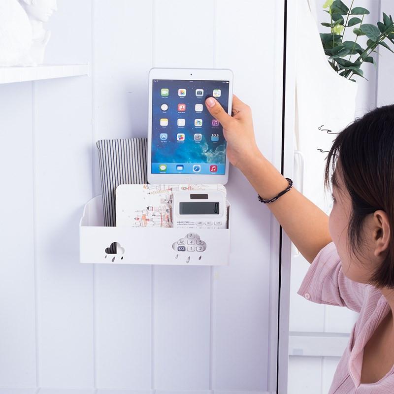 床头放手机收纳盒墙上寝室壁挂式免打孔墙壁充电器收纳家用放置架