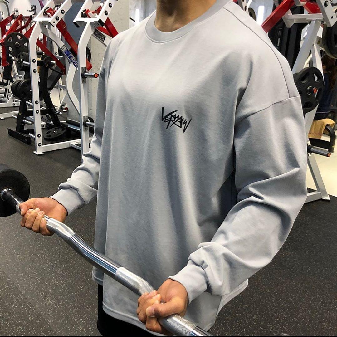 LVFT运动卫衣潮牌宽松训练肌肉健身衣服男长袖T恤套头衫休闲透气