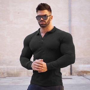肌肉兄弟大码健身运动紧身长袖T恤POLO衫男跑步训练弹力速干衣服