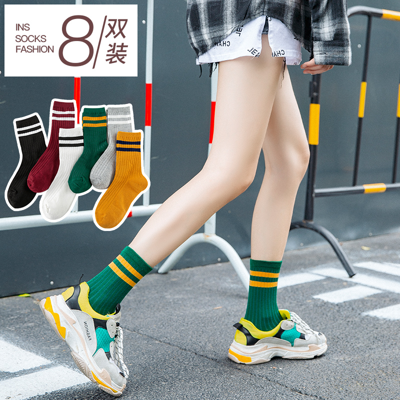 袜子女中筒袜ins潮夏天薄款长筒袜纯棉春夏季堆堆袜女士长袜日系