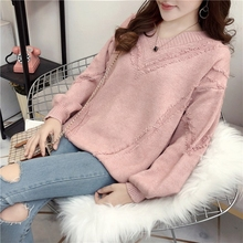 2019 new Korean autumn lazy sweater women's Pullover short student loose knit bottoming top trend