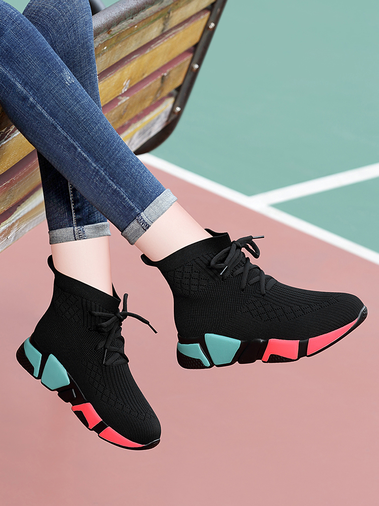 Spring sock shoes womens autumn and winter new 2020 versatile Korean hip hop womens shoes Plush high top sports shoes