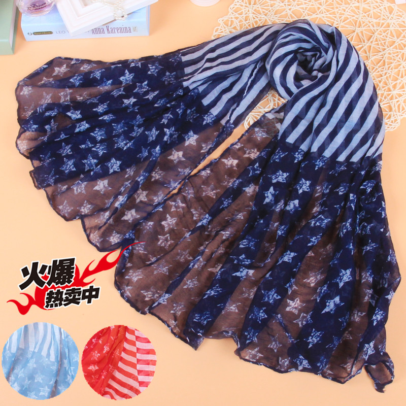Spring and autumn new Balinese scarf European and American style versatile cotton star stripe long scarf / sunshade scarves for women