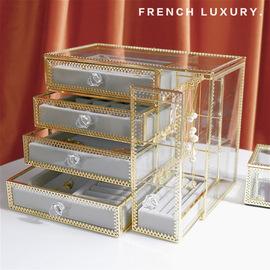 法式轻奢首饰收纳盒大容量精致公主耳环展示架戒指项链珠宝整理盒图片