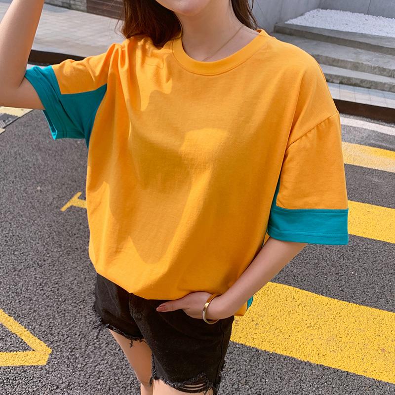 原宿风短袖t恤女2021年新款纯棉宽松长款学生T恤欧洲站设计感上衣