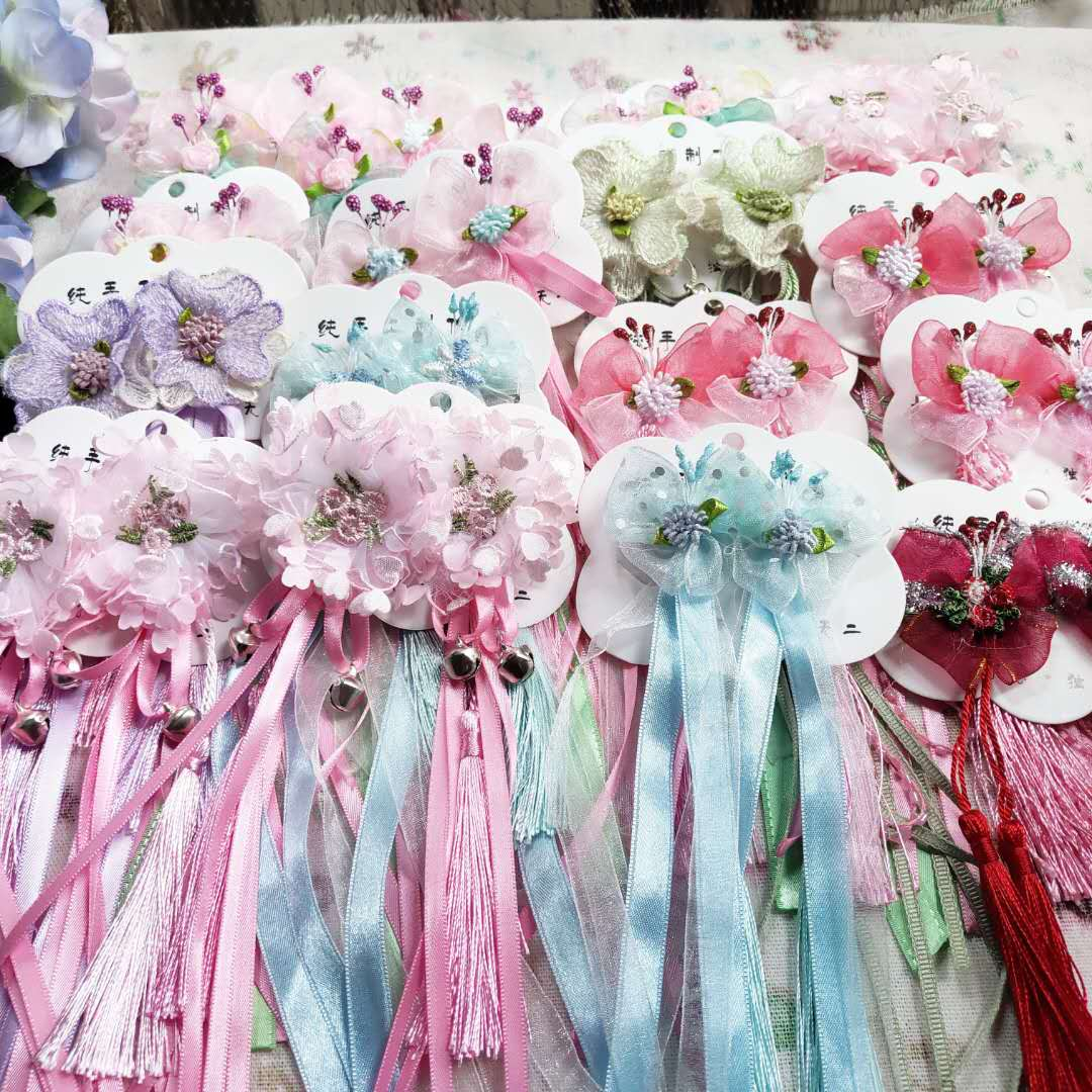 Childrens ancient Chinese Clothes Pink Long streamer hairpin baby girl tassel pendant bow headdress blue green