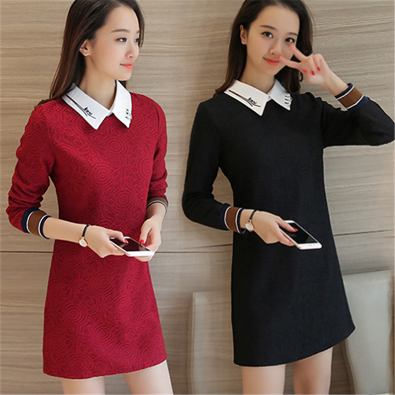 Autumn new womens dress spring and autumn dress middle length long shirt bottom skirt show thin fashion womens dress