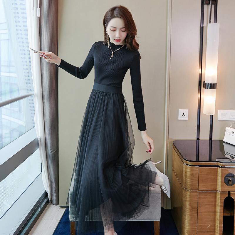 長款毛衣裙子過膝冬天內搭仙女裙打底秋裝2019新款網紗針織連衣裙