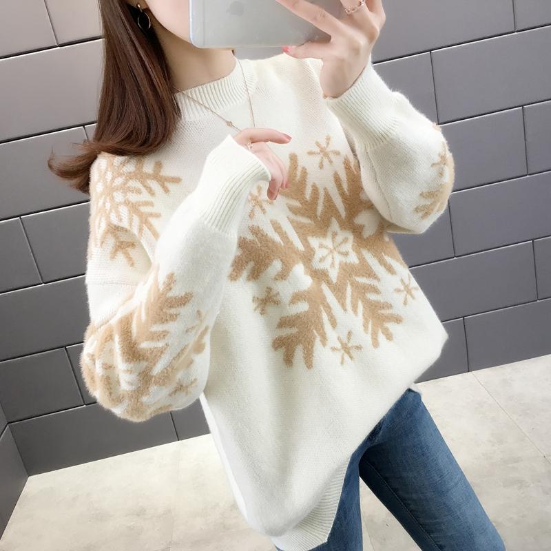 2019秋冬季新款女装毛衣外穿宽松打底半高领雪花图案套头针织衫