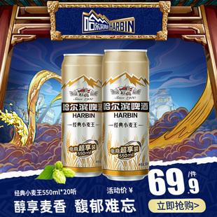 哈尔滨啤酒经典小麦王550ml*20听 整箱易拉罐装促销装品牌