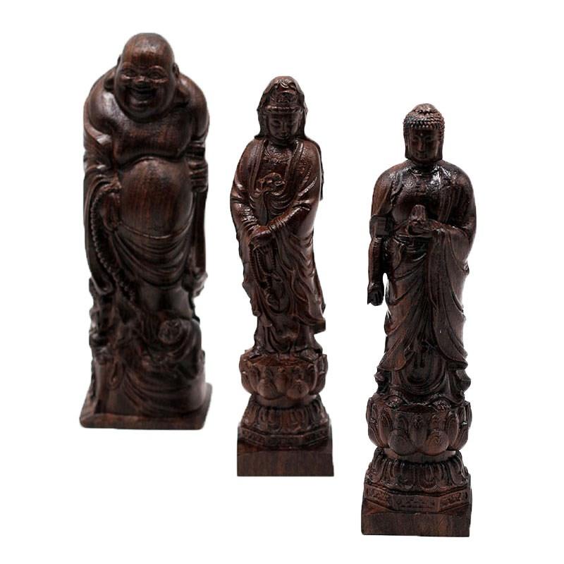 黑木弥勒佛木质皮雕刻办公室会所样板房观音佛福猪家居装饰品摆件