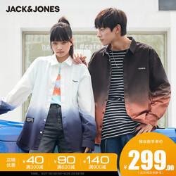 【D】杰克琼斯秋新款情侣装男女同款潮流休闲宽松渐变长袖衬衫衣