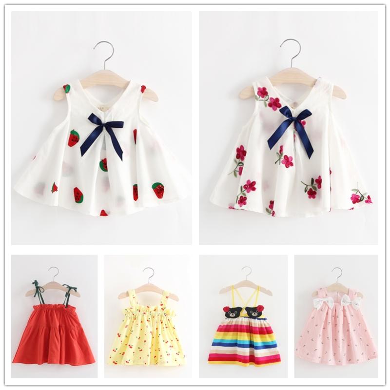 Ребятишки девочки летний костюм жилет юбка 2017 новый ребенок безрукавный юбка годовалый ребенок девушка платье лето